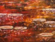 Lilies on Fall Reflection 24x48 $2,100