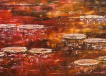 Lilies on Fall Reflection 24x48 $2,100.