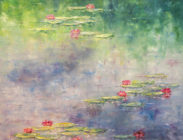 Pink Lily Reflections 40x40 $2,900 (sold)