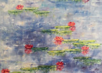 Pink Lilies on Blue 30x30 $1,300