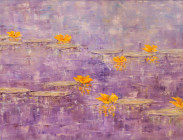 Yellow Lilies on Purple and Blue