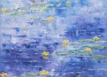 Yellow Lillies on Blue