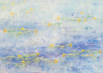Yellow Lilies on Blue Reflections 20x30 $1,200