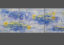 Yellow Lilies on Blue Triptych 8x8 (3) $675