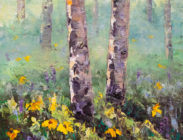 Aspen and Wildflowers II 8x8 $300