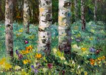 Spring Aspen & Wildflower 6x8 $295